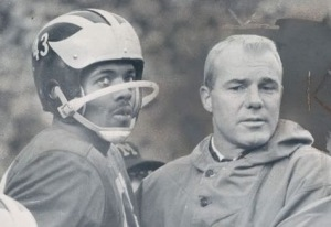 Coach Bump Elliott and All-American halfback Bennie McCrae